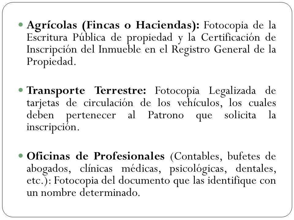 Criterios y requisitos del igss ppt descargar for Oficina del registro de la propiedad