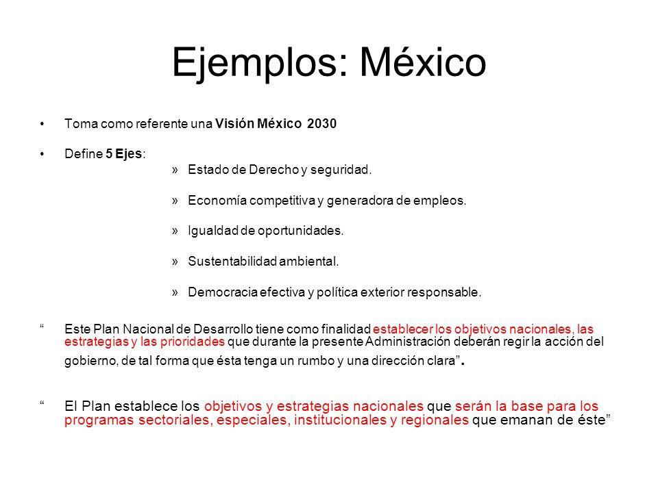 Ejemplos: México Toma como referente una Visión México 2030. Define 5 Ejes: Estado de Derecho y seguridad.