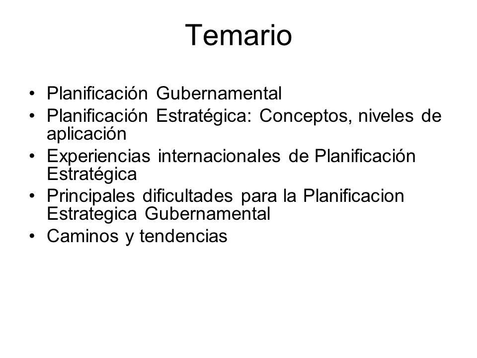 Temario Planificación Gubernamental