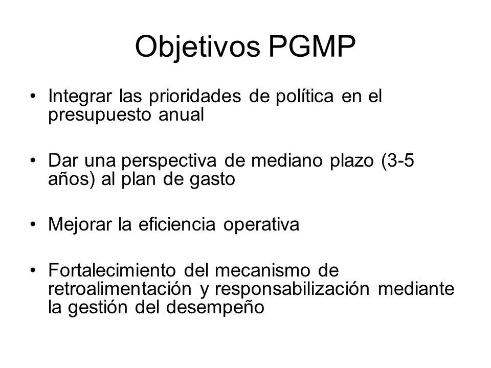 Objetivos PGMP Integrar las prioridades de política en el presupuesto anual. Dar una perspectiva de mediano plazo (3-5 años) al plan de gasto.