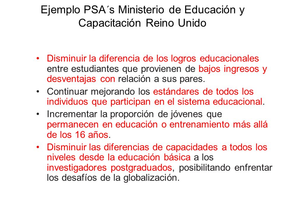 Ejemplo PSA´s Ministerio de Educación y Capacitación Reino Unido