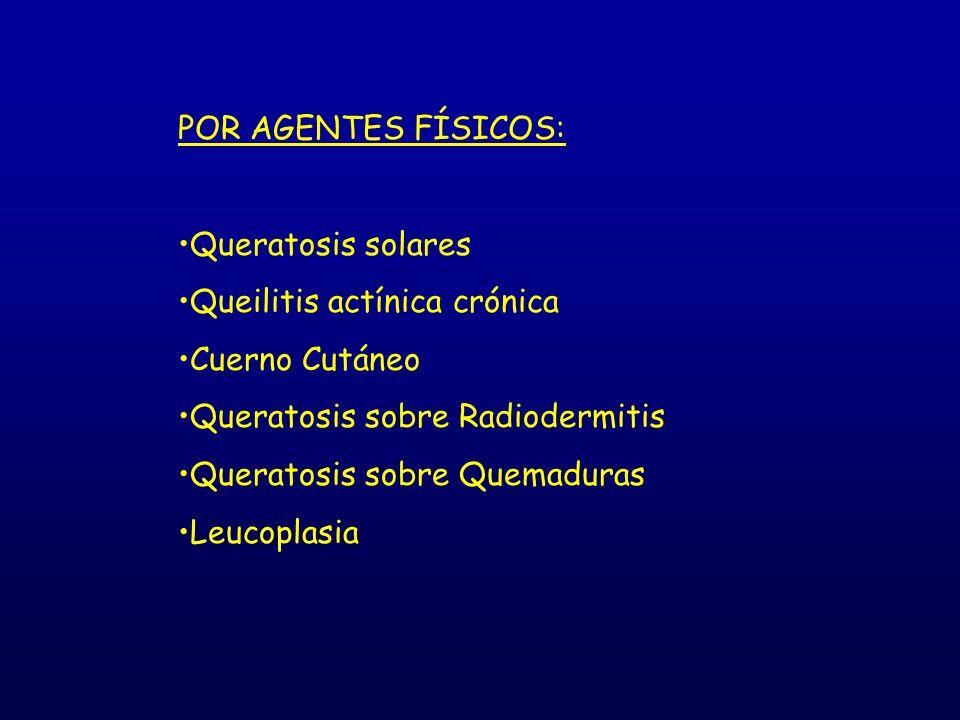 POR AGENTES FÍSICOS: Queratosis solares. Queilitis actínica crónica. Cuerno Cutáneo. Queratosis sobre Radiodermitis.