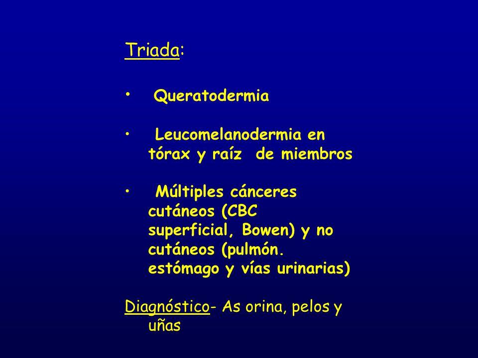 Triada: Queratodermia Leucomelanodermia en tórax y raíz de miembros