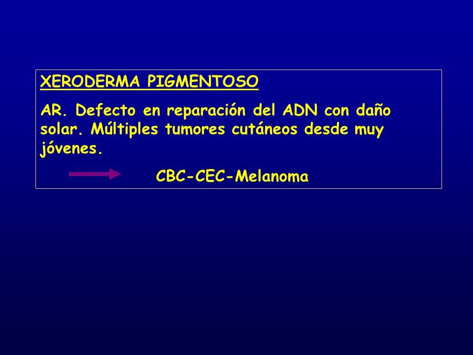 XERODERMA PIGMENTOSO AR. Defecto en reparación del ADN con daño solar. Múltiples tumores cutáneos desde muy jóvenes.