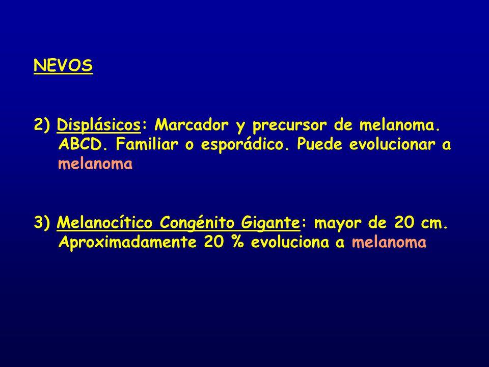 NEVOS 2) Displásicos: Marcador y precursor de melanoma. ABCD. Familiar o esporádico. Puede evolucionar a melanoma.