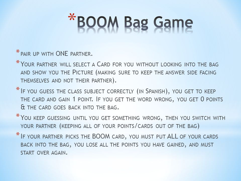 BOOM Bag Game pair up with ONE partner.