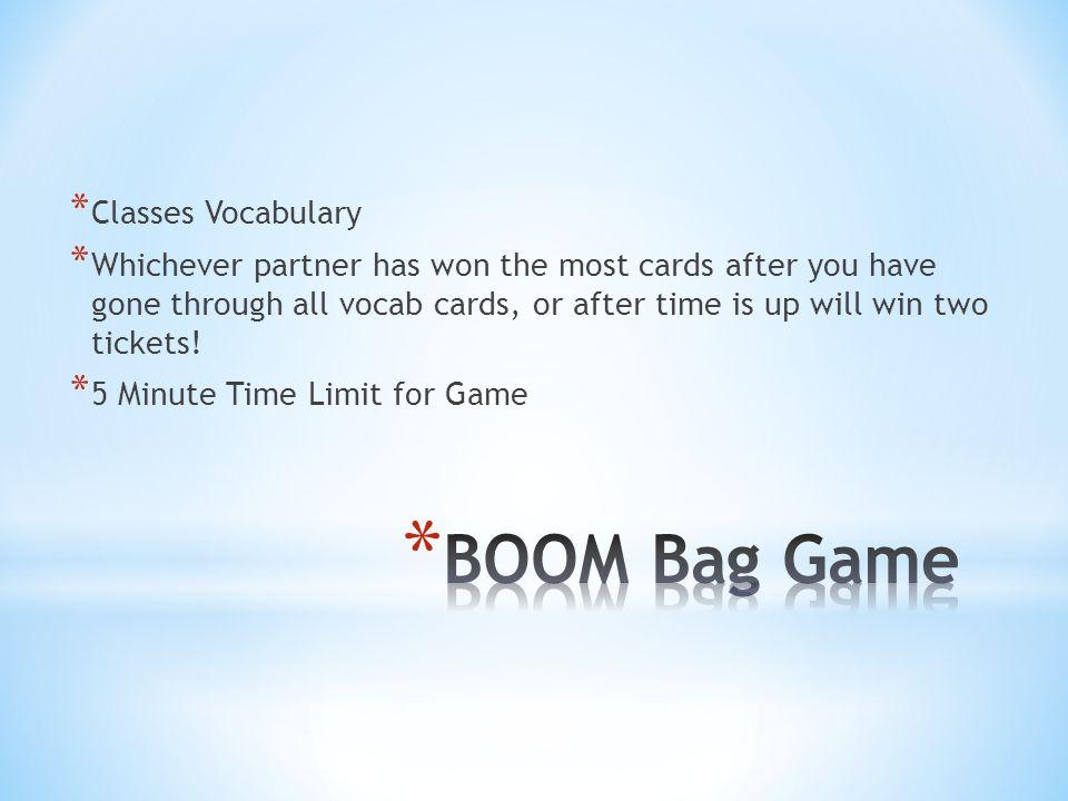 BOOM Bag Game Classes Vocabulary