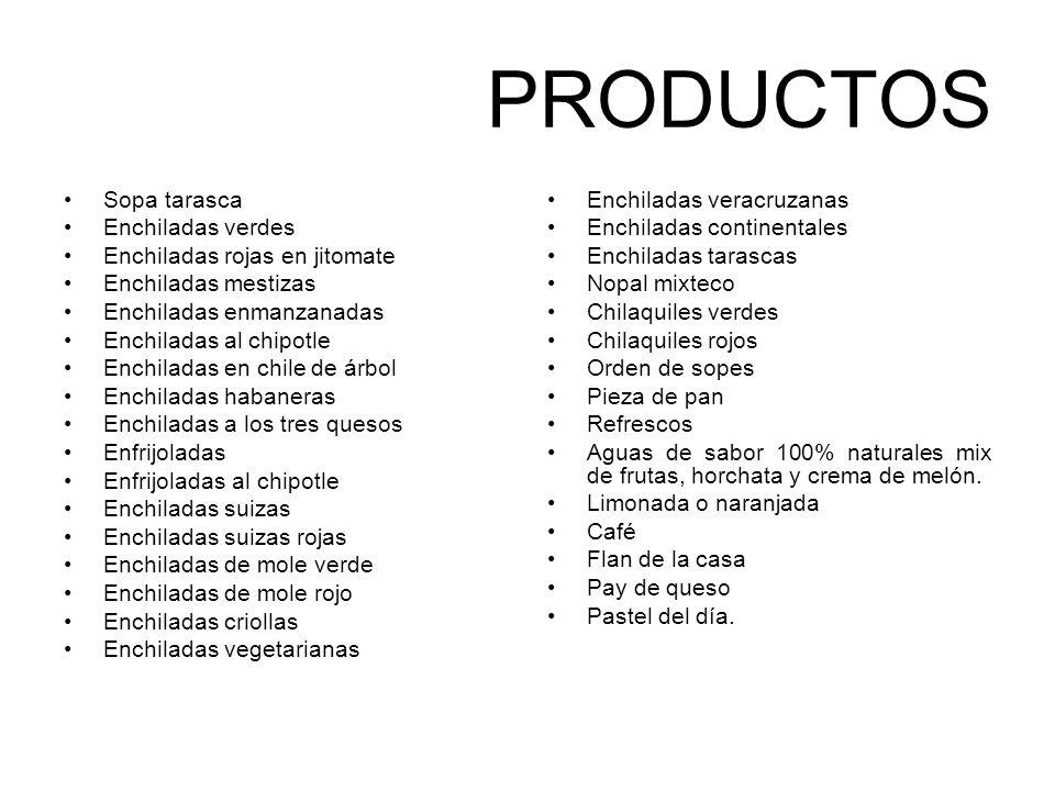 PRODUCTOS Sopa tarasca Enchiladas verdes Enchiladas rojas en jitomate