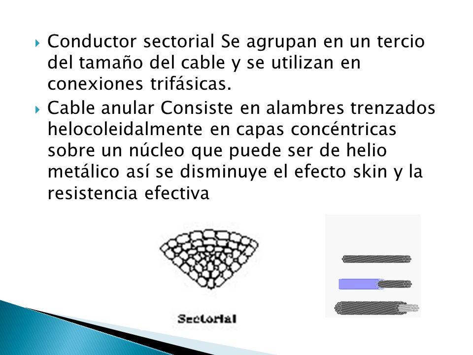 Conductor sectorial Se agrupan en un tercio del tamaño del cable y se utilizan en conexiones trifásicas.