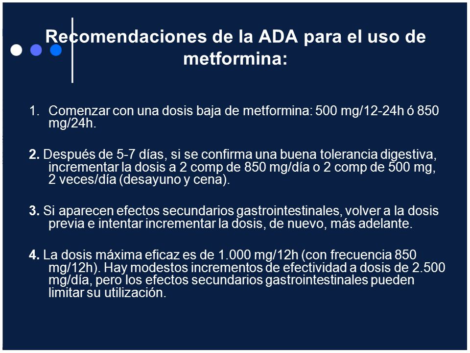 Recomendaciones de la ADA para el uso de metformina: Comenzar con ...