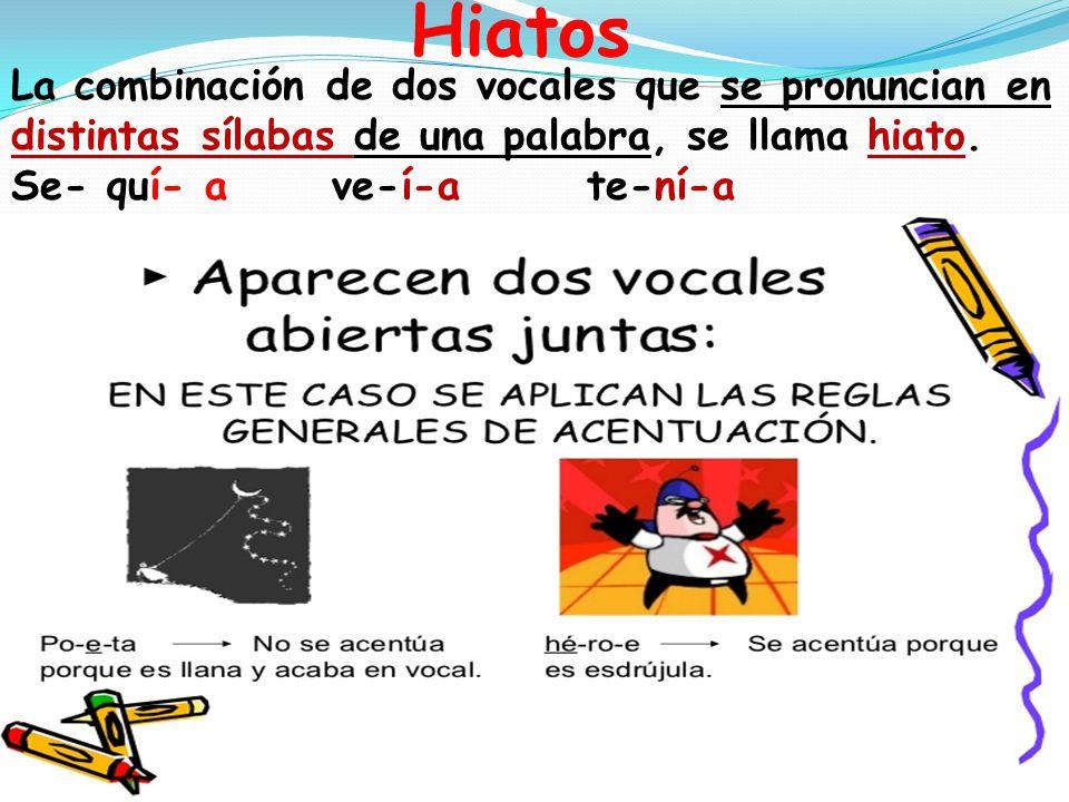Hiatos La combinación de dos vocales que se pronuncian en distintas sílabas de una palabra, se llama hiato.