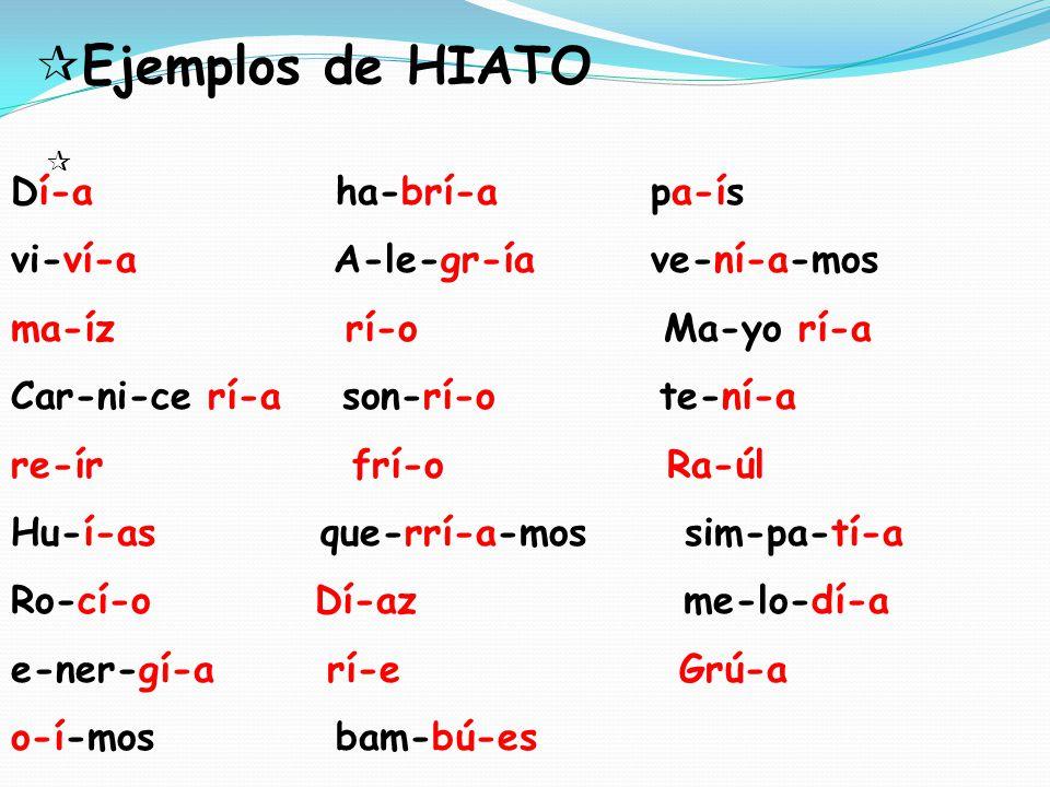 Ejemplos de HIATO Dí-a ha-brí-a pa-ís vi-ví-a A-le-gr-ía ve-ní-a-mos