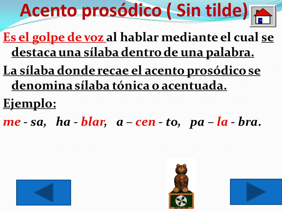Acento prosódico ( Sin tilde)