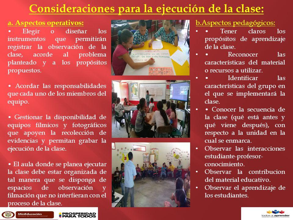 Consideraciones para la ejecución de la clase: