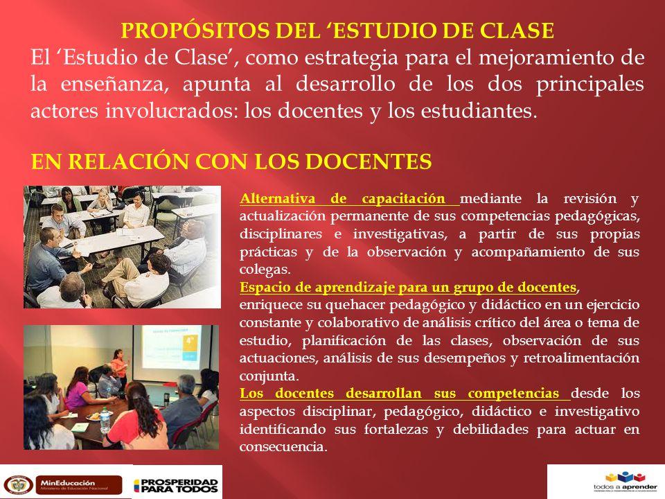 PROPÓSITOS DEL 'ESTUDIO DE CLASE