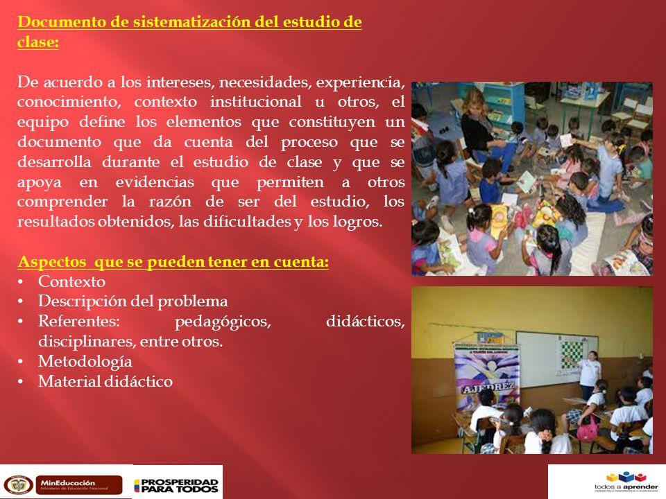Documento de sistematización del estudio de clase: