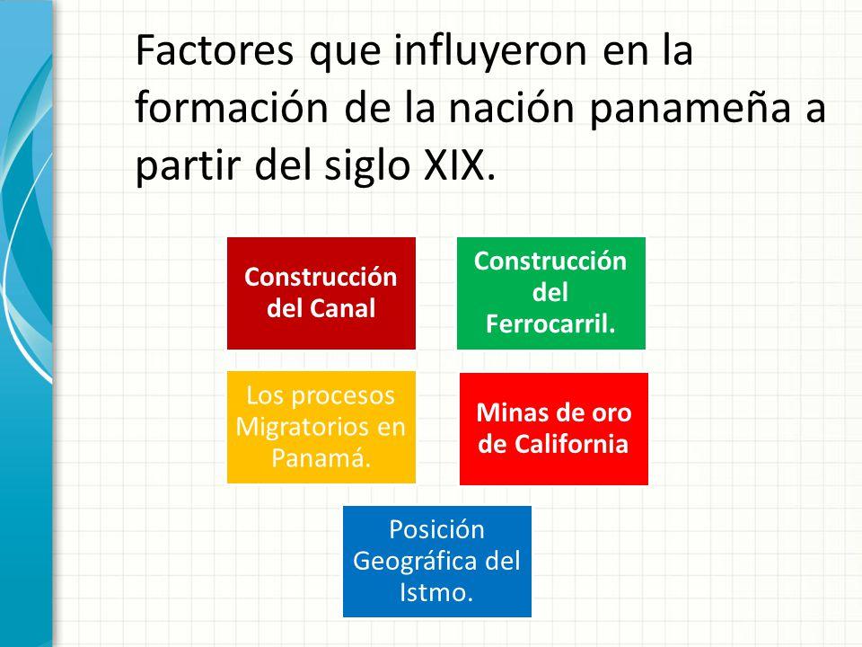 Factores que influyeron en la formación de la nación panameña a partir del siglo XIX.