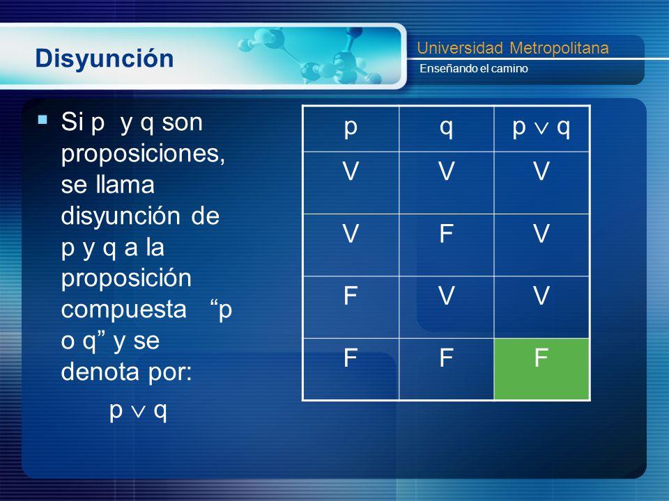 Disyunción Si p y q son proposiciones, se llama disyunción de p y q a la proposición compuesta p o q y se denota por:
