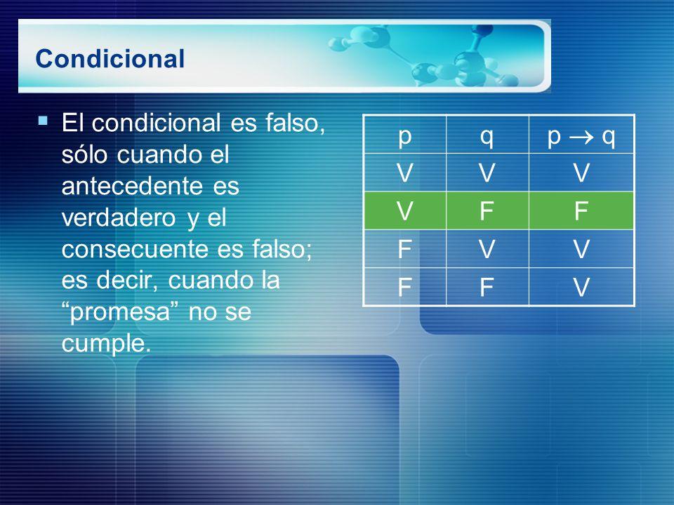 Condicional El condicional es falso, sólo cuando el antecedente es verdadero y el consecuente es falso; es decir, cuando la promesa no se cumple.