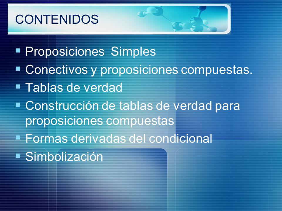 CONTENIDOS Proposiciones Simples. Conectivos y proposiciones compuestas. Tablas de verdad.