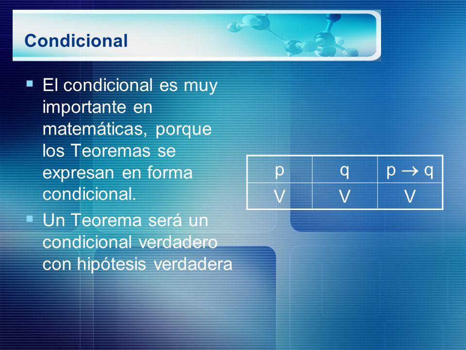 Condicional El condicional es muy importante en matemáticas, porque los Teoremas se expresan en forma condicional.