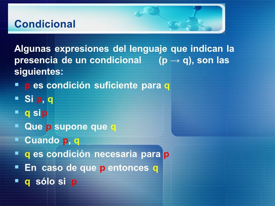 Condicional Algunas expresiones del lenguaje que indican la presencia de un condicional (p → q), son las siguientes: