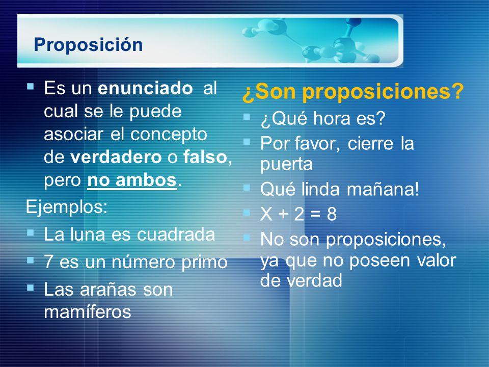 ¿Son proposiciones Proposición