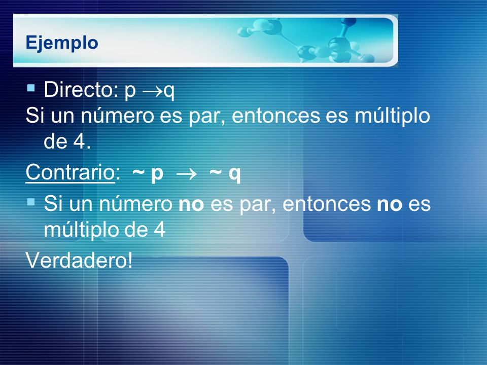 Si un número es par, entonces es múltiplo de 4. Contrario: ~ p  ~ q