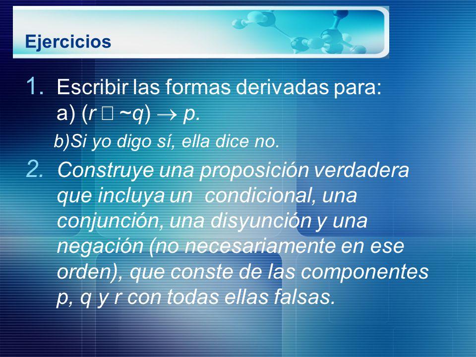 Escribir las formas derivadas para: a) (r Ú ~q) ® p.