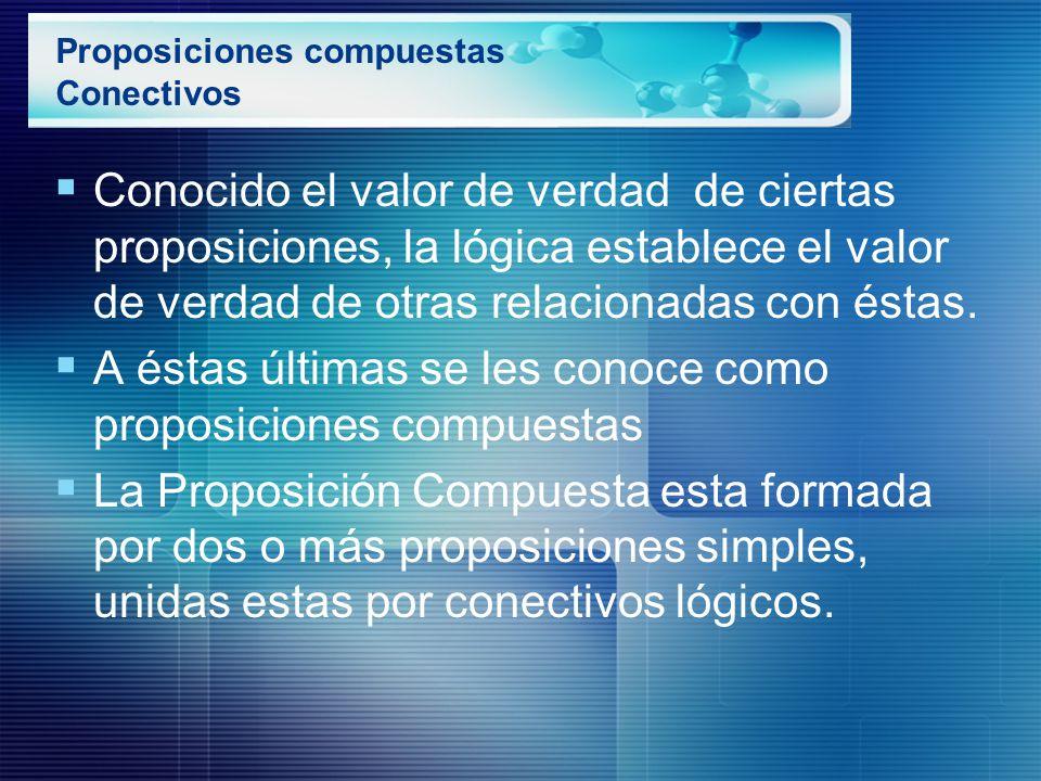 Proposiciones compuestas Conectivos