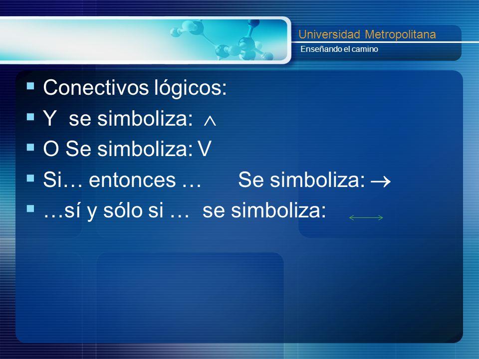 Conectivos lógicos: Y se simboliza:  O Se simboliza: V.