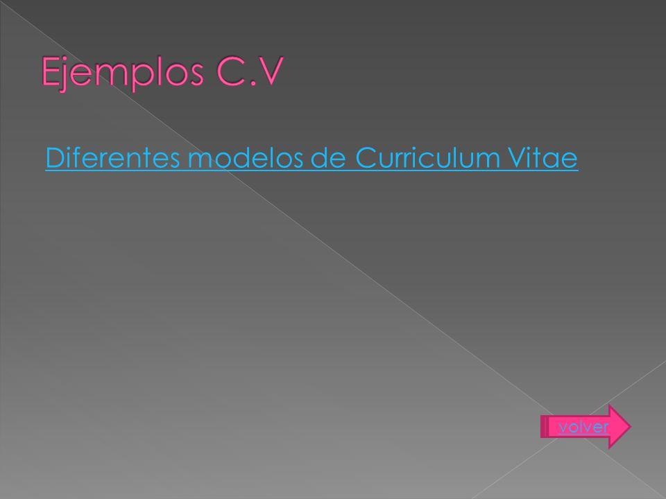 Ejemplos C.V Diferentes modelos de Curriculum Vitae volver
