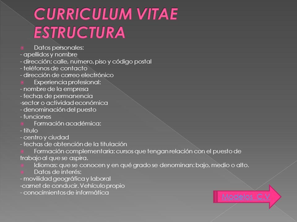 CURRICULUM VITAE ESTRUCTURA