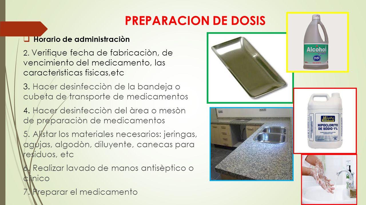 PREPARACION DE DOSIS Horario de administraciòn. 2. Verifique fecha de fabricaciòn, de vencimiento del medicamento, las caracterìsticas fisicas,etc.