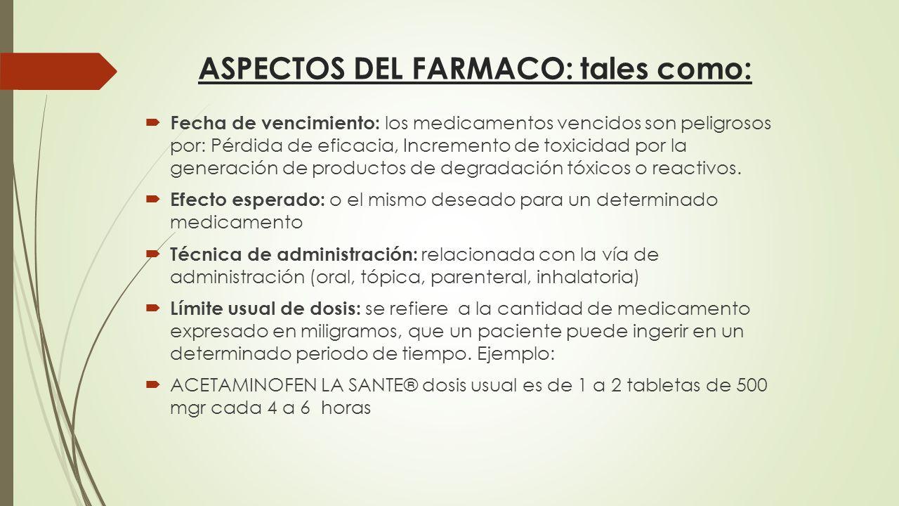 ASPECTOS DEL FARMACO: tales como: