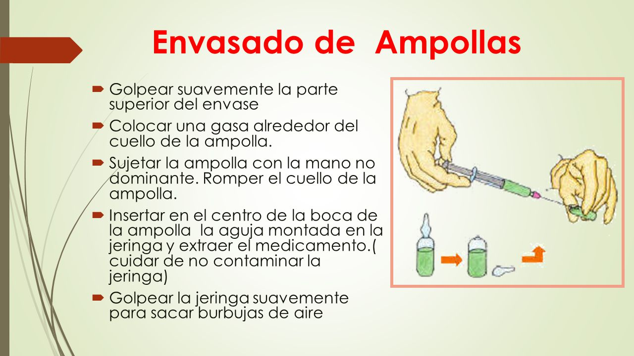 Envasado de Ampollas Golpear suavemente la parte superior del envase