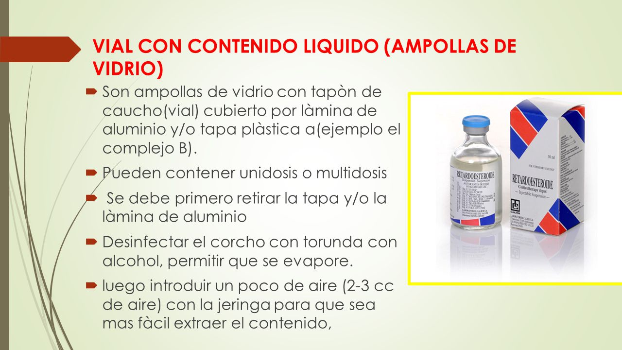 VIAL CON CONTENIDO LIQUIDO (AMPOLLAS DE VIDRIO)