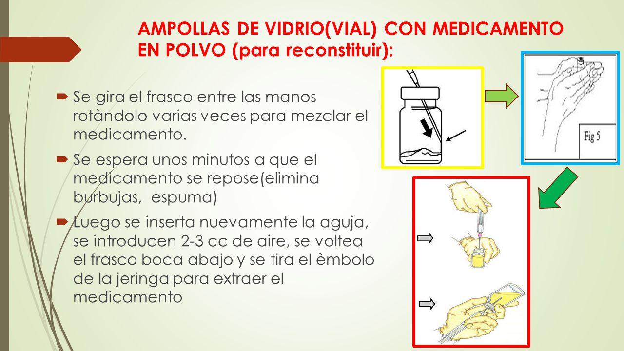 AMPOLLAS DE VIDRIO(VIAL) CON MEDICAMENTO EN POLVO (para reconstituir):