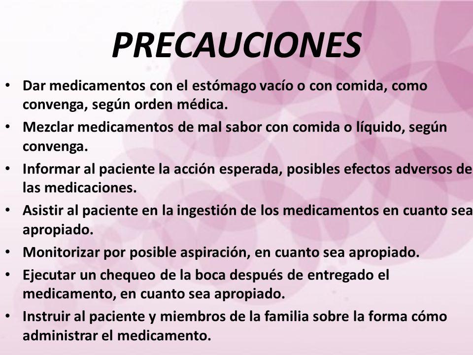 PRECAUCIONES Dar medicamentos con el estómago vacío o con comida, como convenga, según orden médica.