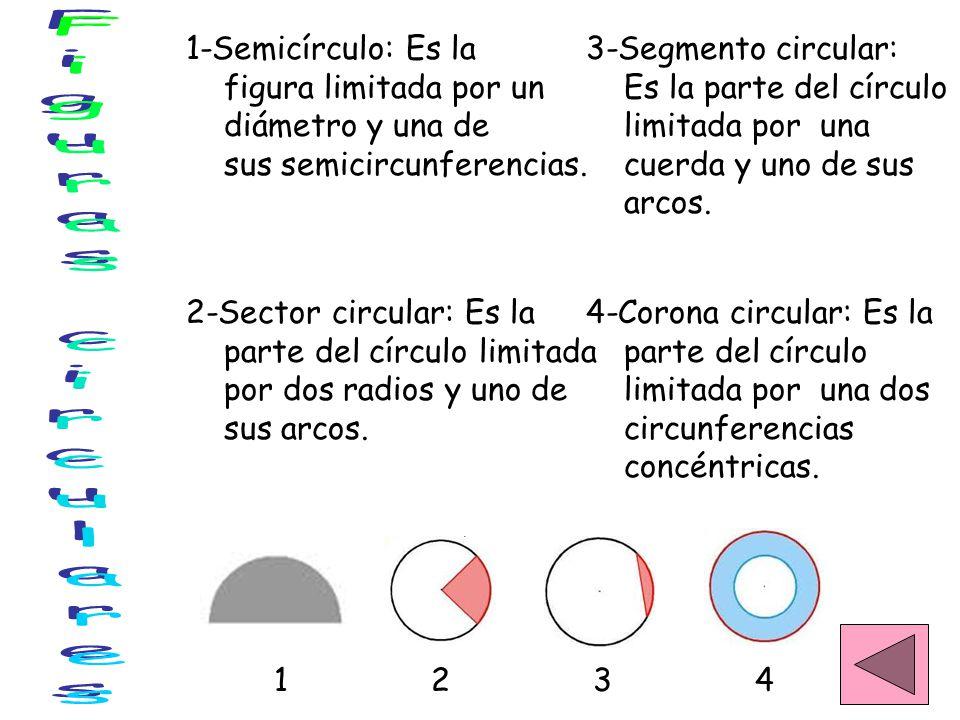 Figuras circulares 1-Semicírculo: Es la figura limitada por un