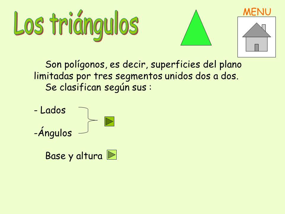 Los triángulos MENU Son polígonos, es decir, superficies del plano