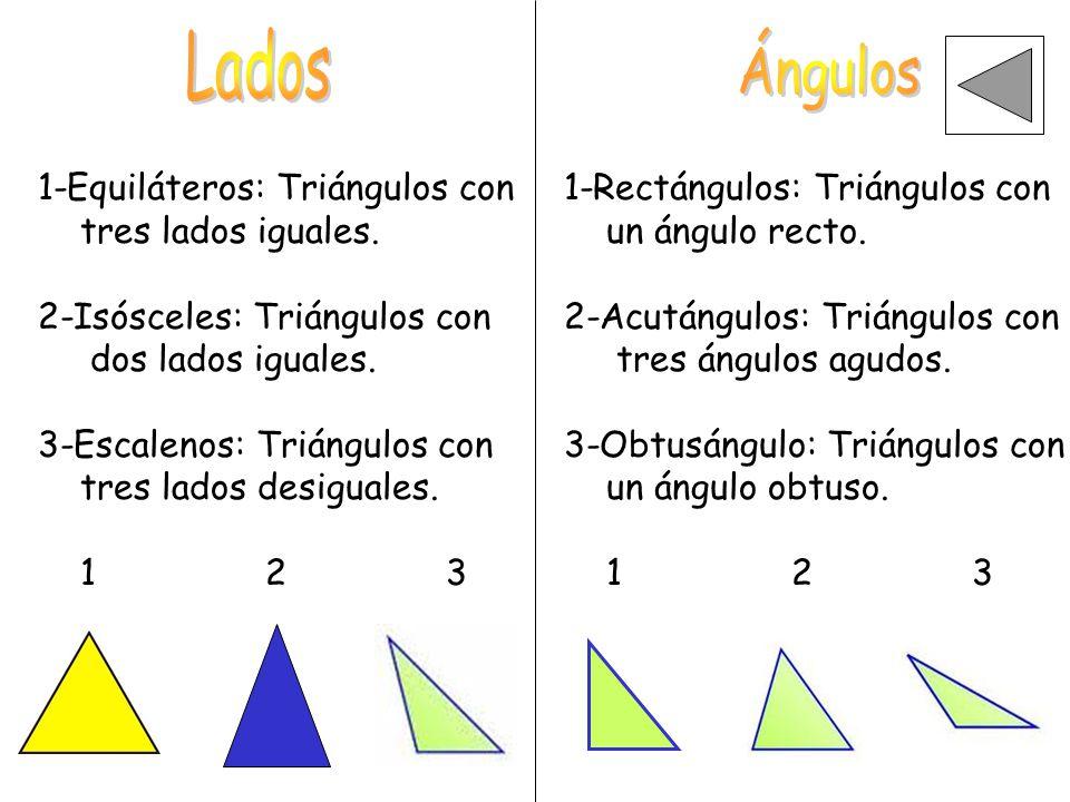 Lados Ángulos 1-Equiláteros: Triángulos con tres lados iguales.