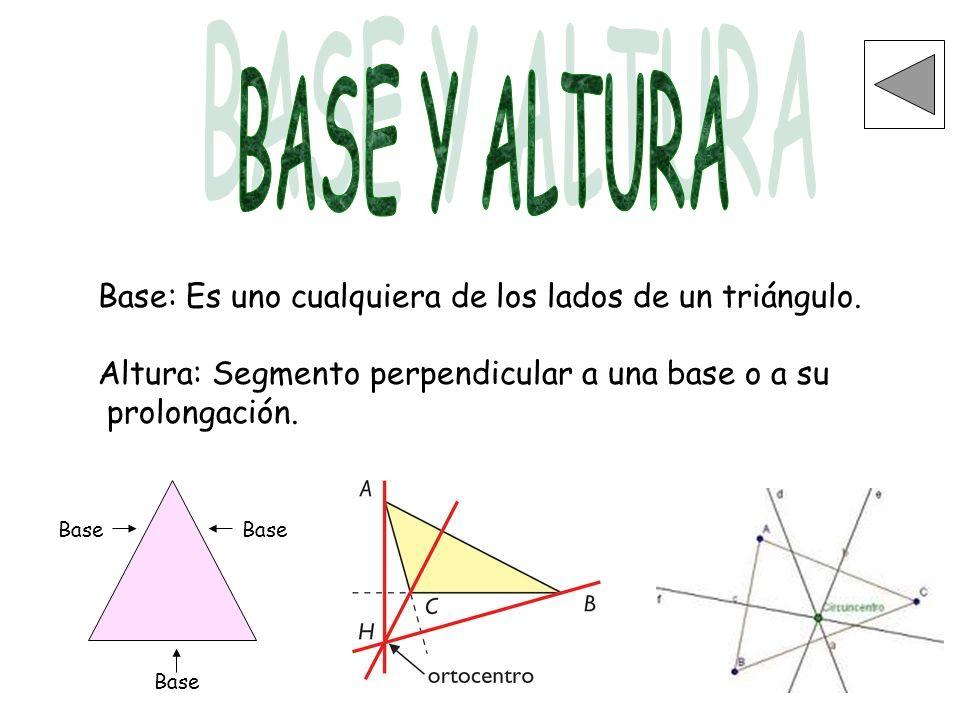 BASE Y ALTURA Base: Es uno cualquiera de los lados de un triángulo.