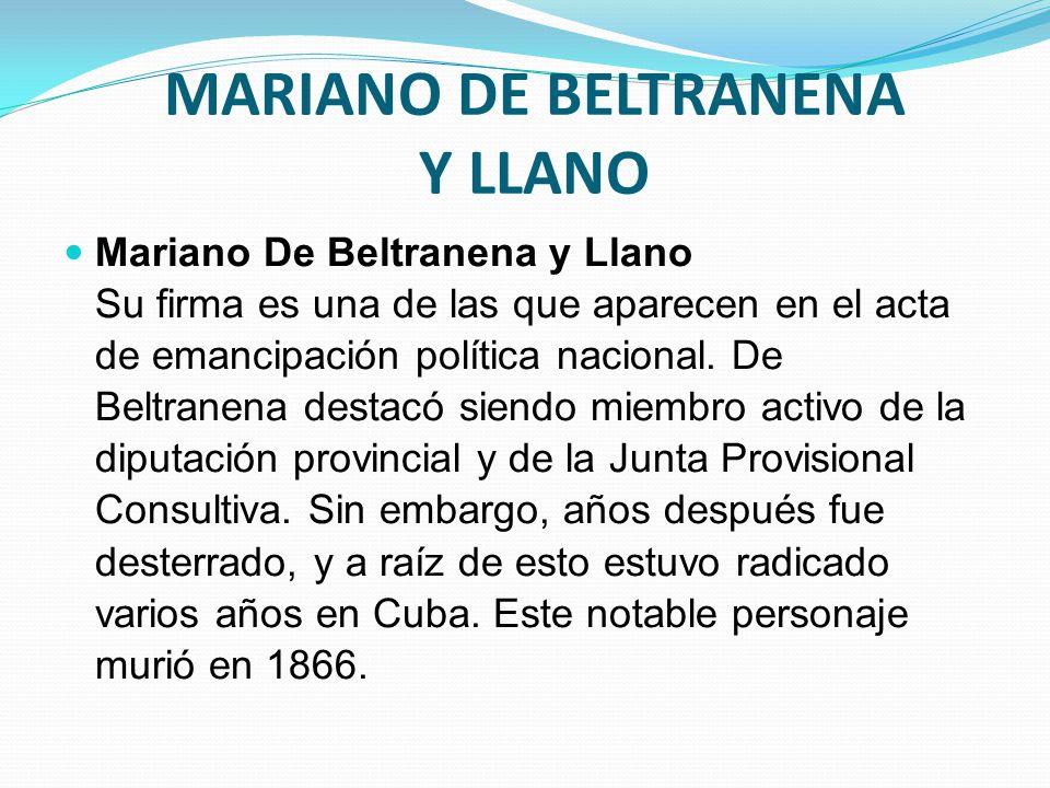 MARIANO DE BELTRANENA Y LLANO