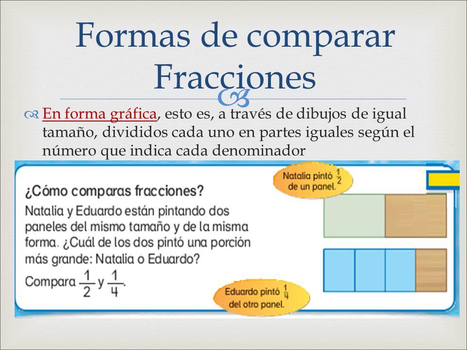 Formas de comparar Fracciones