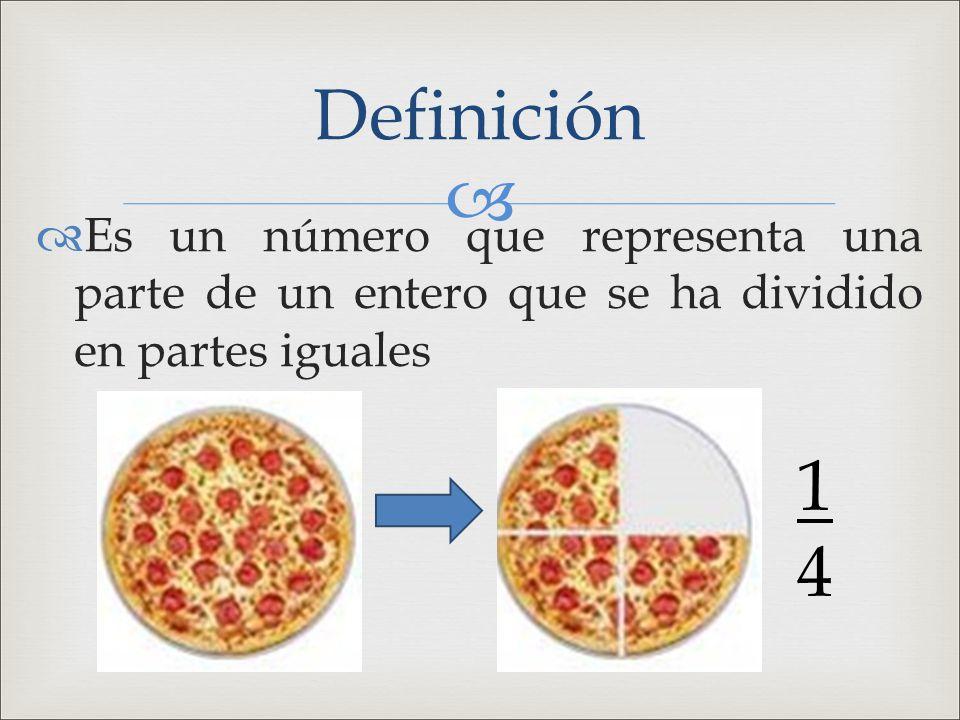Definición Es un número que representa una parte de un entero que se ha dividido en partes iguales.