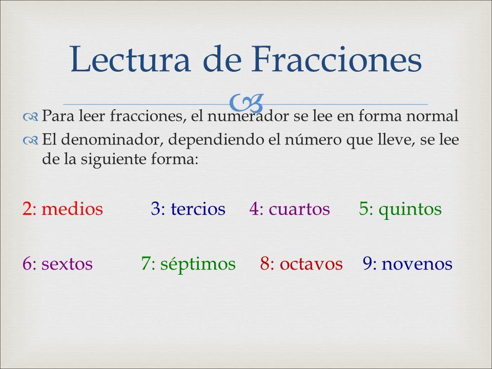 Lectura de Fracciones 2: medios 3: tercios 4: cuartos 5: quintos