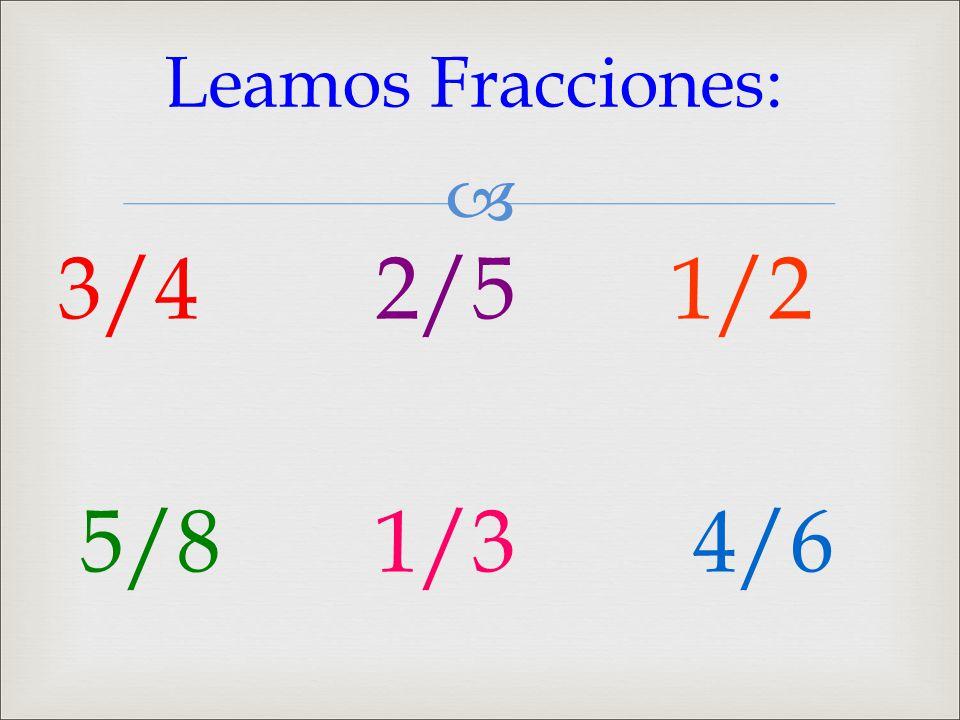 Leamos Fracciones: 3/4 2/5 1/2 5/8 1/3 4/6