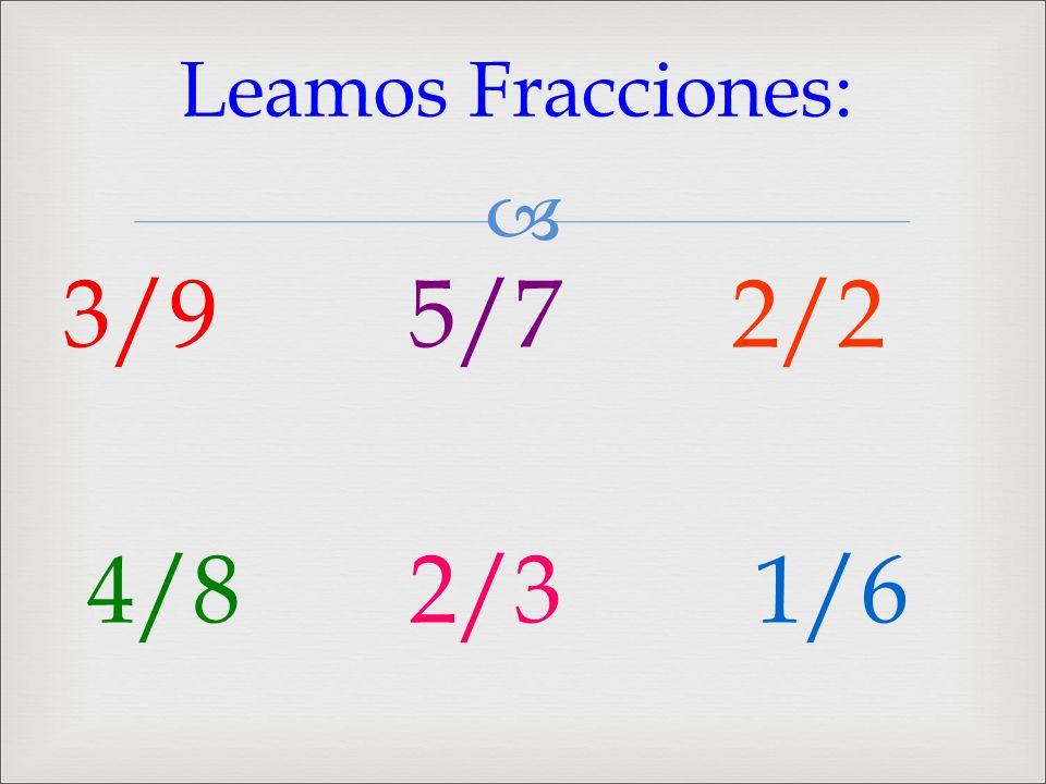 Leamos Fracciones: 3/9 5/7 2/2 4/8 2/3 1/6