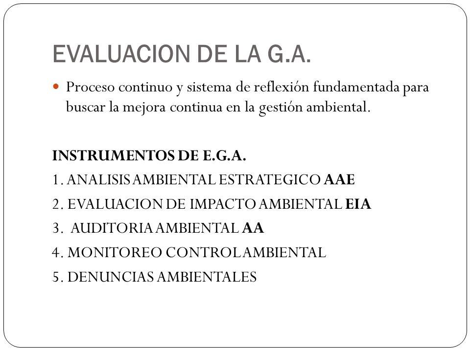 EVALUACION DE LA G.A. Proceso continuo y sistema de reflexión fundamentada para buscar la mejora continua en la gestión ambiental.